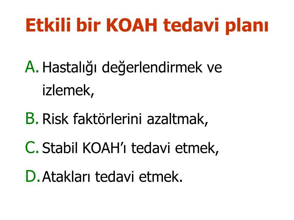 Etkili bir KOAH tedavi planı A.Hastalığı değerlendirmek ve izlemek, B.
