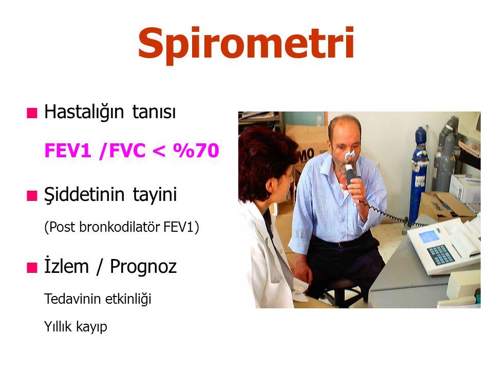 Spirometri Hastalığın tanısı FEV1 /FVC < %70 Şiddetinin tayini (Post bronkodilatör FEV1) İzlem / Prognoz Tedavinin etkinliği Yıllık kayıp