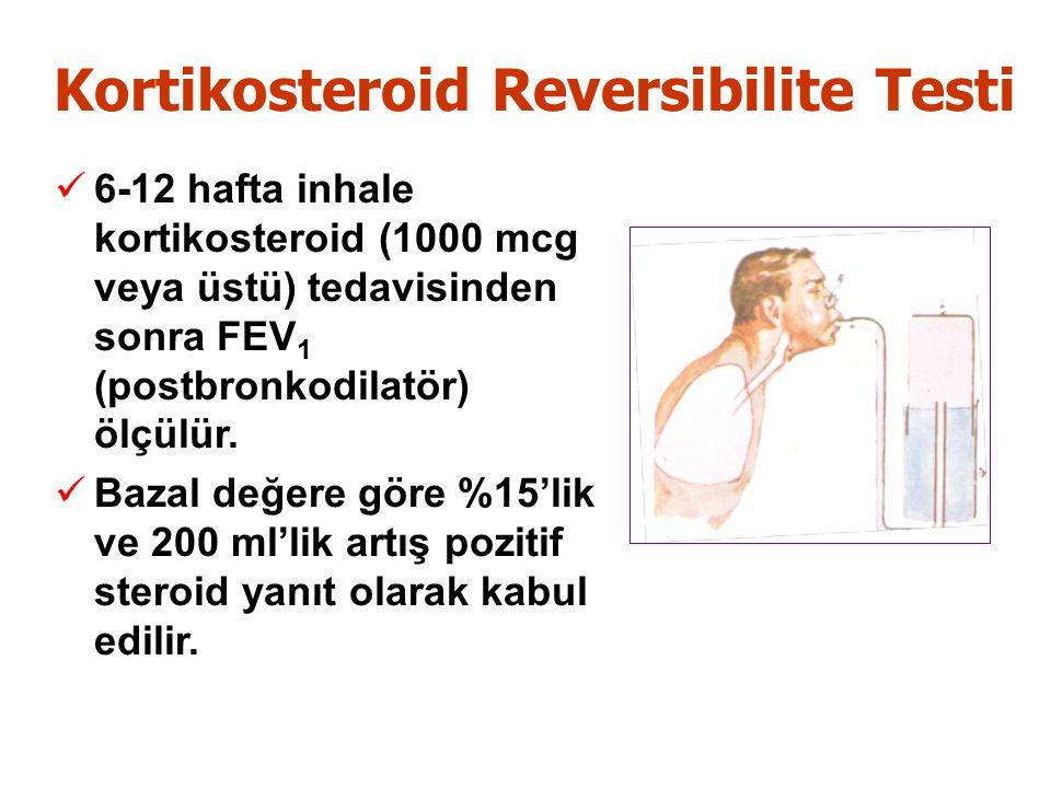 Kortikosteroid Reversibilite Testi 6-12 hafta inhale kortikosteroid (1000 mcg veya üstü) tedavisinden sonra FEV 1 (postbronkodilatör) ölçülür.