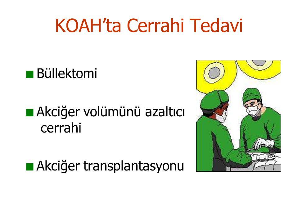 KOAH'ta Cerrahi Tedavi Büllektomi Akciğer volümünü azaltıcı cerrahi Akciğer transplantasyonu