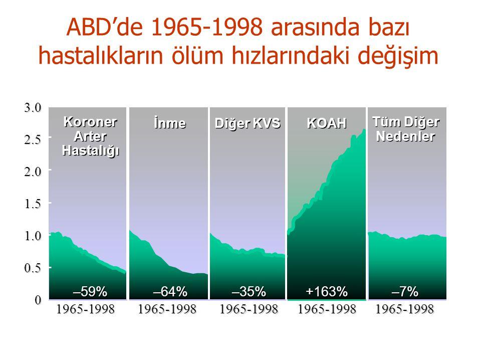 –59% –64% –35% +163% –7% Koroner Arter Hastalığı Koroner Arter Hastalığı İnme Diğer KVS KOAH Tüm Diğer Nedenler Tüm Diğer Nedenler3.02.52.01.51.00.501965-19981965-19981965-19981965-19981965-1998 ABD'de 1965-1998 arasında bazı hastalıkların ölüm hızlarındaki değişim