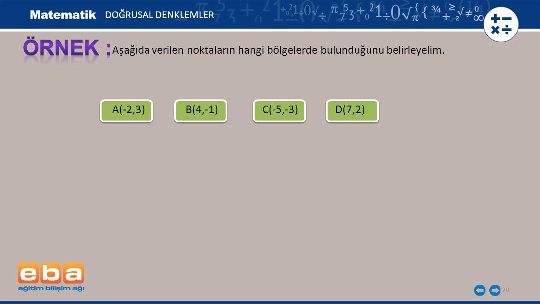 20 Aşağıda verilen noktaların hangi bölgelerde bulunduğunu belirleyelim. A(-2,3)B(4,-1)C(-5,-3)D(7,2) DOĞRUSAL DENKLEMLER