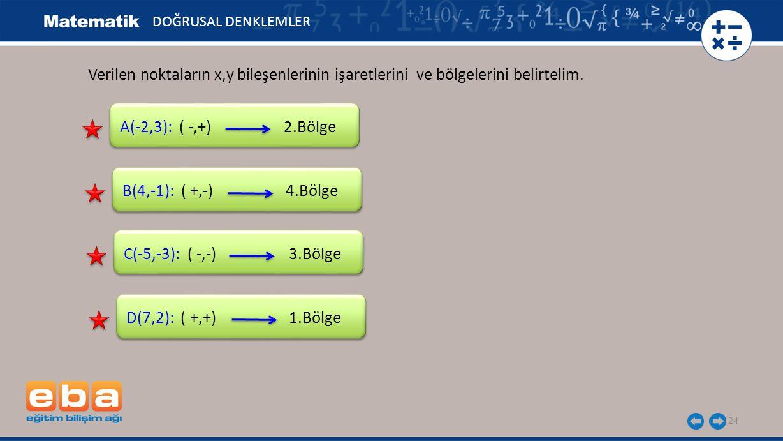 24 Verilen noktaların x,y bileşenlerinin işaretlerini ve bölgelerini belirtelim. A(-2,3): ( -,+) 2.Bölge B(4,-1): ( +,-) 4.Bölge C(-5,-3): ( -,-) 3.Bö