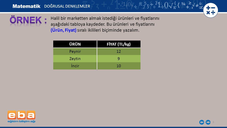 14 x y 0 1 4 -3 -2 2 3 A(1,2) DOĞRUSAL DENKLEMLER..