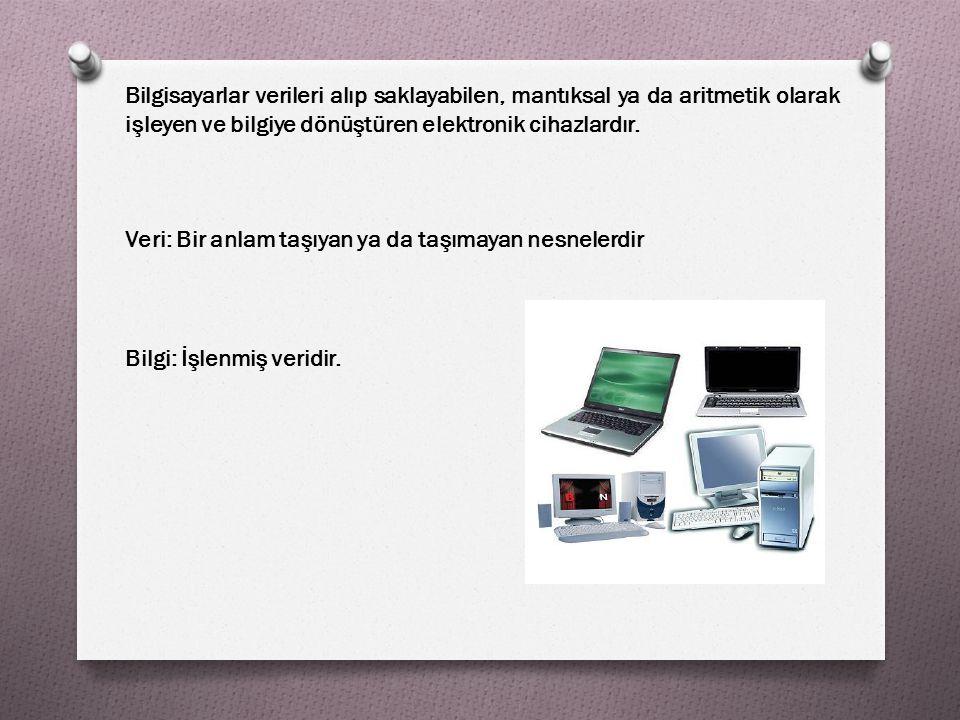 Bilgisayarın veri işlemede kullandıkları temel işlemler: O –Veri Girişi O –Aritmetik ve Mantıksal İşlemler O –Veri Saklama O –Veri Çıkışı