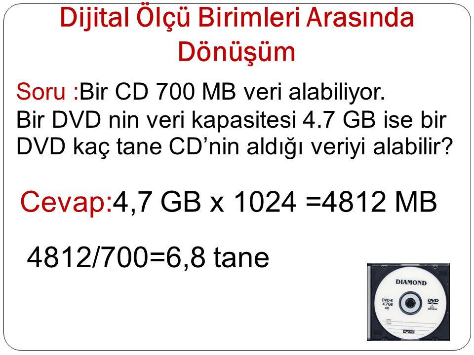 Dijital Ölçü Birimleri Arasında Dönüşüm Soru :Bir CD 700 MB veri alabiliyor. Bir DVD nin veri kapasitesi 4.7 GB ise bir DVD kaç tane CD'nin aldığı ver