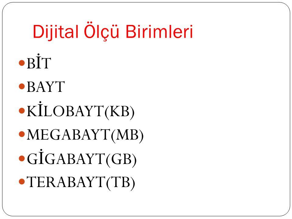 Dijital Ölçü Birimleri B İ T BAYT K İ LOBAYT(KB) MEGABAYT(MB) G İ GABAYT(GB) TERABAYT(TB)