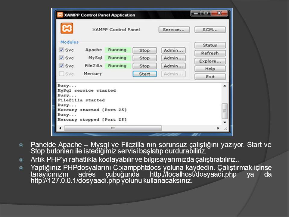  Panelde Apache – Mysql ve Filezilla nın sorunsuz çalıştığını yazıyor. Start ve Stop butonları ile istediğimiz servisi başlatıp durdurabiliriz.  Art