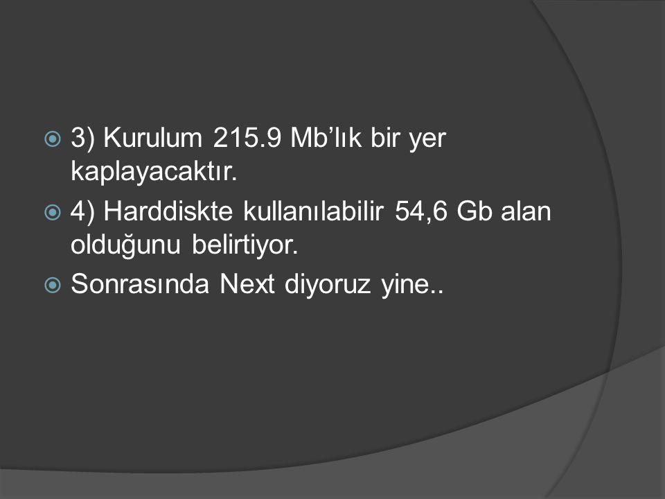  3) Kurulum 215.9 Mb'lık bir yer kaplayacaktır.  4) Harddiskte kullanılabilir 54,6 Gb alan olduğunu belirtiyor.  Sonrasında Next diyoruz yine..