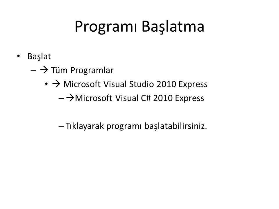 Programı Başlatma Başlat –  Tüm Programlar  Microsoft Visual Studio 2010 Express –  Microsoft Visual C# 2010 Express – Tıklayarak programı başlatab
