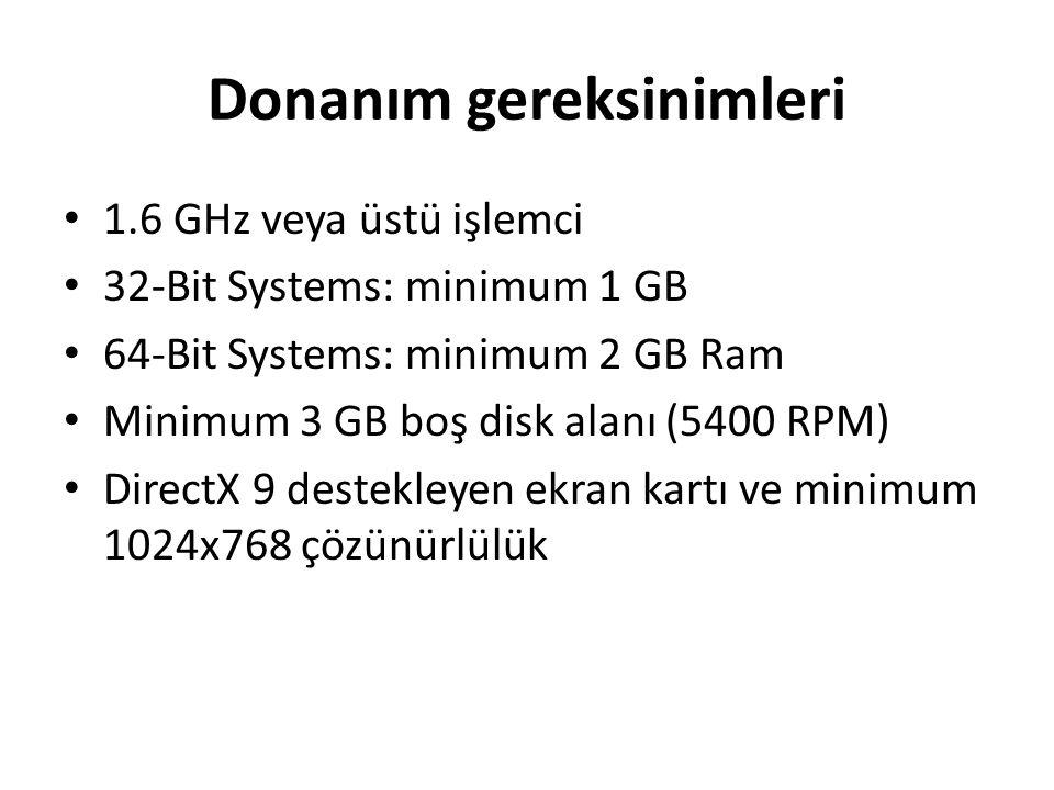 Donanım gereksinimleri 1.6 GHz veya üstü işlemci 32-Bit Systems: minimum 1 GB 64-Bit Systems: minimum 2 GB Ram Minimum 3 GB boş disk alanı (5400 RPM)