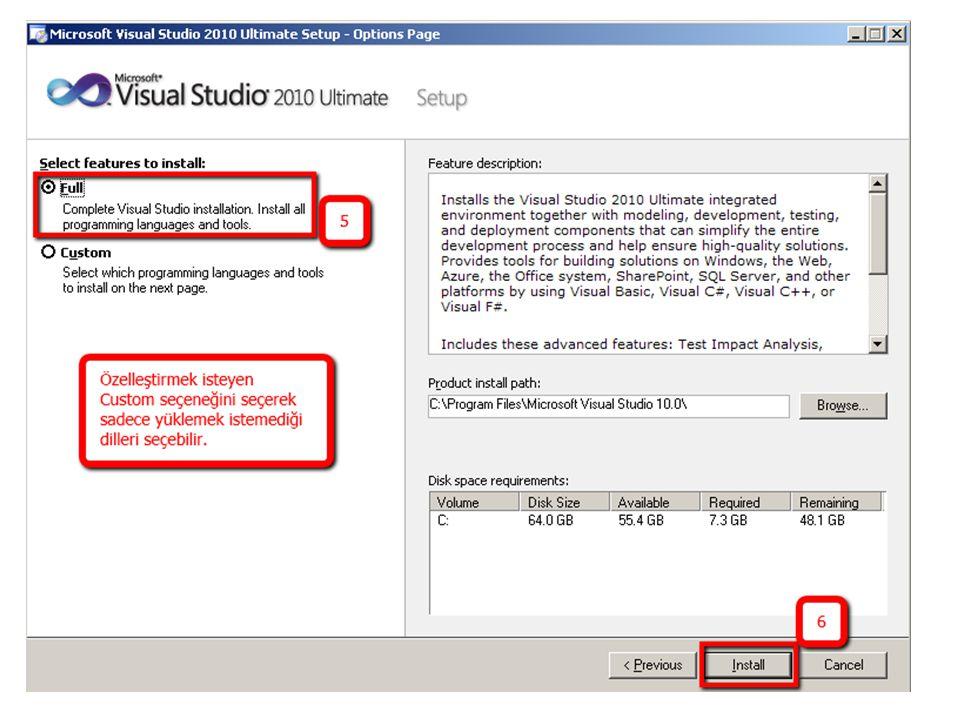 Programı ilk kez çalıştırma ve Tanıma Başlat -> Tüm Programlar -> Microsoft Visual Studio 2010 -> Microsoft Visual Studio 2010 tıklayın.