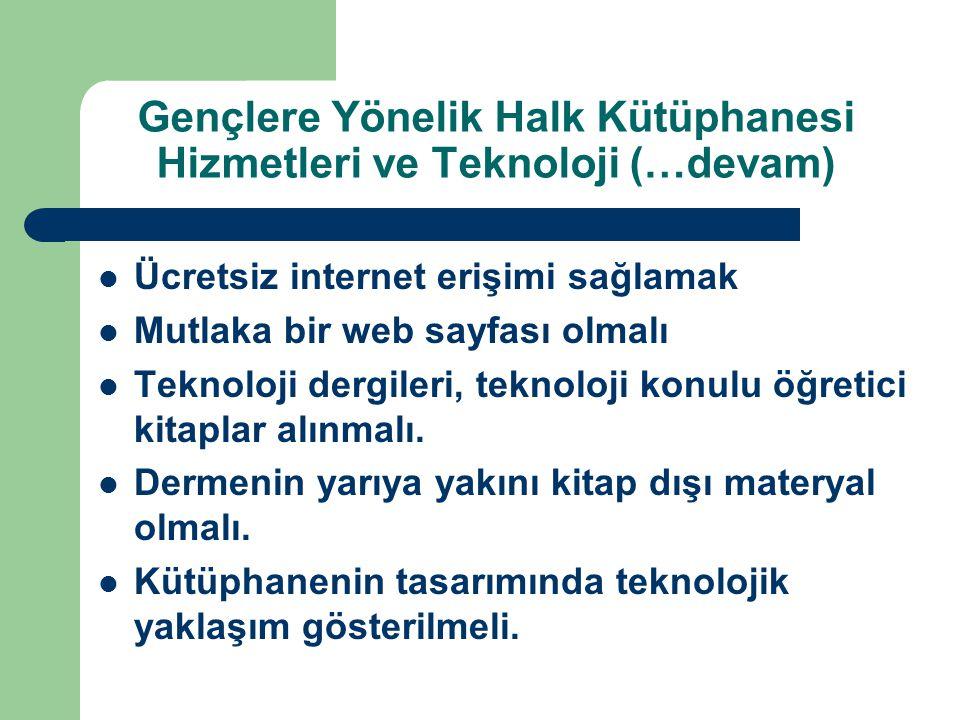 Gençlere Yönelik Halk Kütüphanesi Hizmetleri ve Teknoloji (…devam) Ücretsiz internet erişimi sağlamak Mutlaka bir web sayfası olmalı Teknoloji dergileri, teknoloji konulu öğretici kitaplar alınmalı.