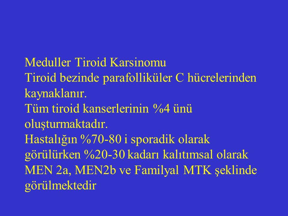 MEN 2a: Sipple sendromu MEN 2bFamilyal MTK MTK Feokromositoma %50 Hiperparatiroidiz m %10-30 Kutanöz liken amiloidoz MTK Feokromositoma %50 Marfanoid habitus Multiple mukozal intestina gangliomalar %100 MTK Başka endokrino pati yok