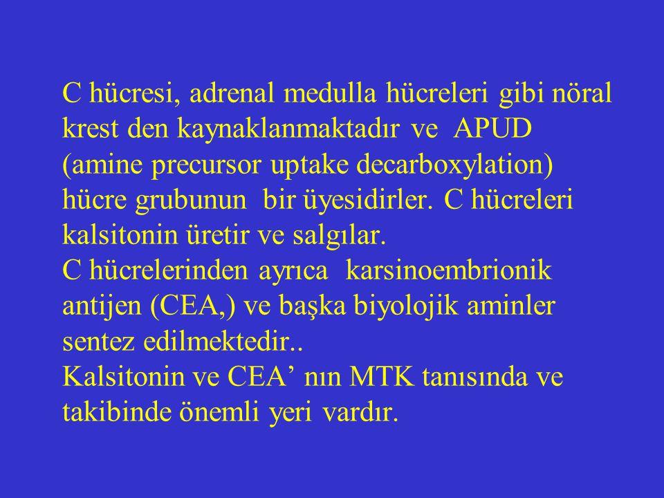 MTK'lı özellikle de metastazlı hastalarda kalsitonin plazma seviyesi yükselir.