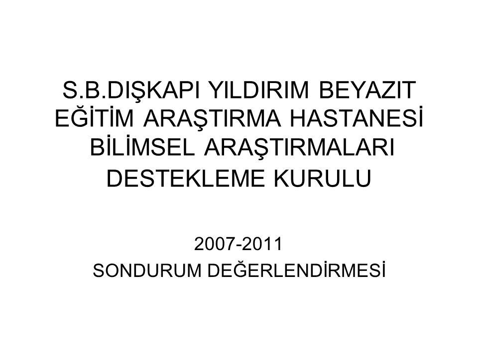 S.B.DIŞKAPI YILDIRIM BEYAZIT EĞİTİM ARAŞTIRMA HASTANESİ BİLİMSEL ARAŞTIRMALARI DESTEKLEME KURULU 2007-2011 SONDURUM DEĞERLENDİRMESİ