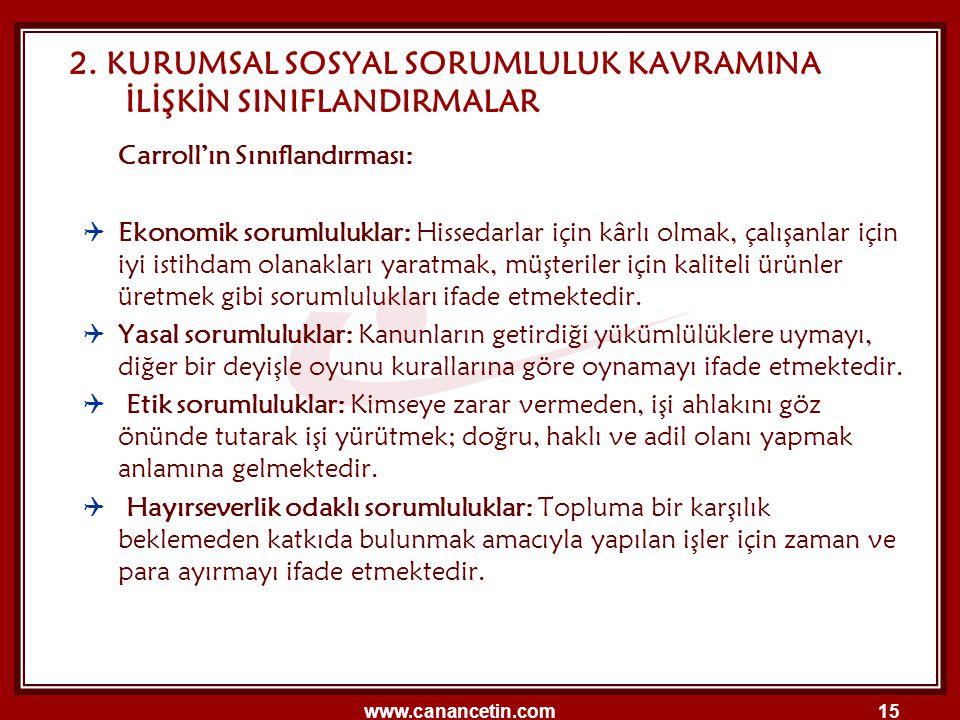 www.canancetin.com15 2. KURUMSAL SOSYAL SORUMLULUK KAVRAMINA İLİŞKİN SINIFLANDIRMALAR Carroll'ın Sınıflandırması:  Ekonomik sorumluluklar: Hissedarla
