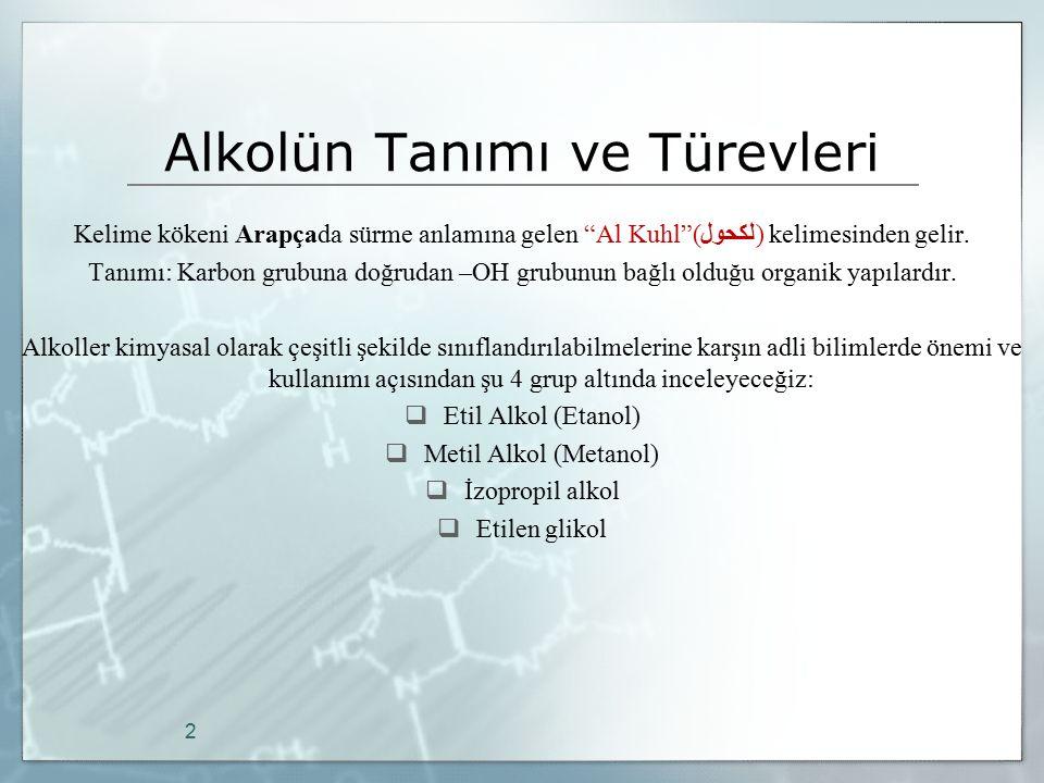 Kan Etanol Tayin Yöntemleri 1- Kimyasal Yöntemler C.