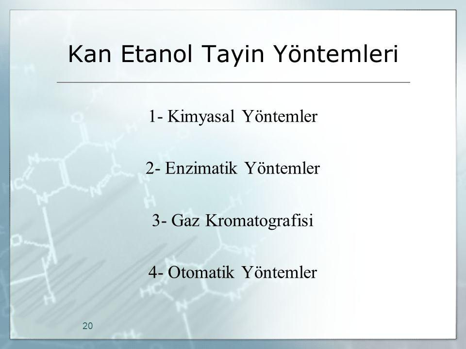 Kan Etanol Tayin Yöntemleri 1- Kimyasal Yöntemler 2- Enzimatik Yöntemler 3- Gaz Kromatografisi 4- Otomatik Yöntemler 20