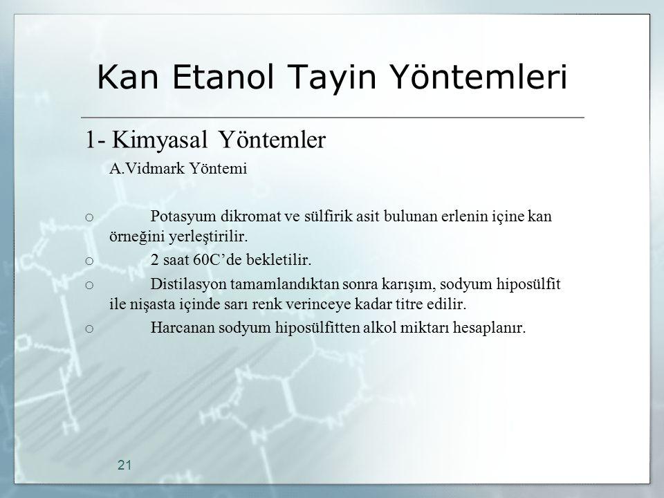Kan Etanol Tayin Yöntemleri 1- Kimyasal Yöntemler A.Vidmark Yöntemi o Potasyum dikromat ve sülfirik asit bulunan erlenin içine kan örneğini yerleştiri