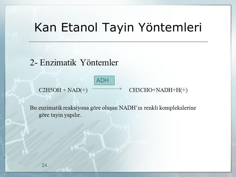 Kan Etanol Tayin Yöntemleri 2- Enzimatik Yöntemler C2H5OH + NAD(+) CH3CHO+NADH+H(+) Bu enzimatik reaksiyona göre oluşan NADH'ın renkli komplekslerine
