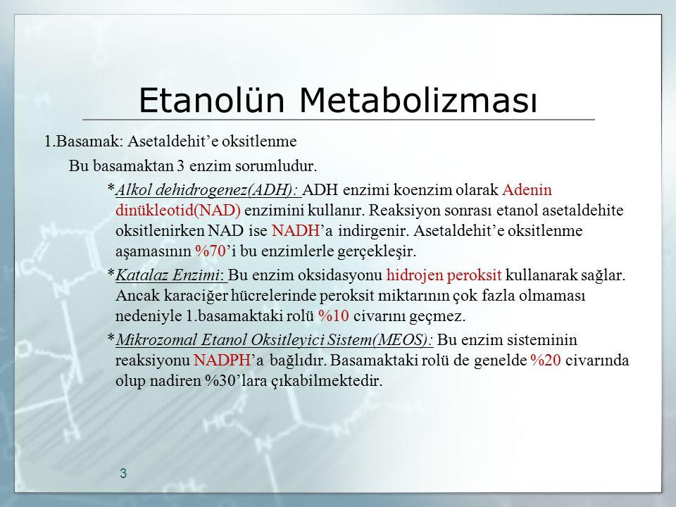 Etanolün Metabolizması 1.Basamak: Asetaldehit'e oksitlenme Bu basamaktan 3 enzim sorumludur. *Alkol dehidrogenez(ADH): ADH enzimi koenzim olarak Adeni