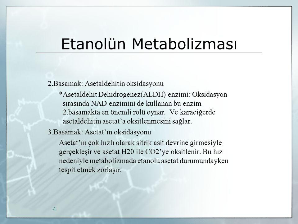 Etanolün Metabolizması 2.Basamak: Asetaldehitin oksidasyonu *Asetaldehit Dehidrogenez(ALDH) enzimi: Oksidasyon sırasında NAD enzimini de kullanan bu e
