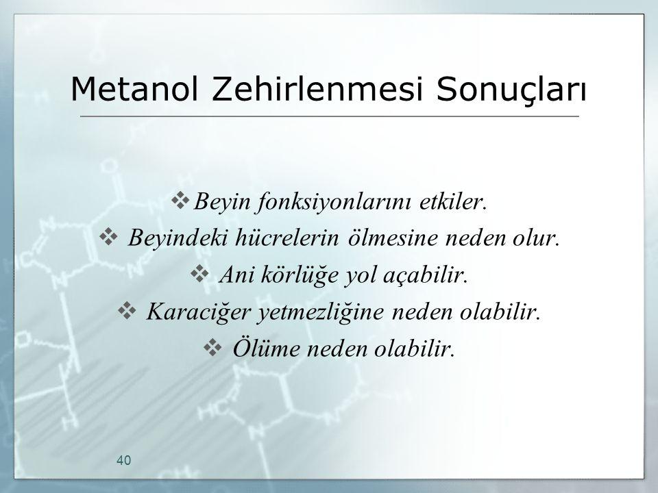 Metanol Zehirlenmesi Sonuçları  Beyin fonksiyonlarını etkiler.  Beyindeki hücrelerin ölmesine neden olur.  Ani körlüğe yol açabilir.  Karaciğer ye