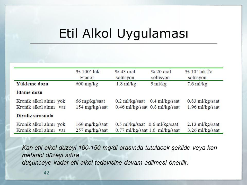 Etil Alkol Uygulaması 42 Kan etil alkol düzeyi 100-150 mg/dl arasında tutulacak şekilde veya kan metanol düzeyi sıfıra düşünceye kadar etil alkol teda