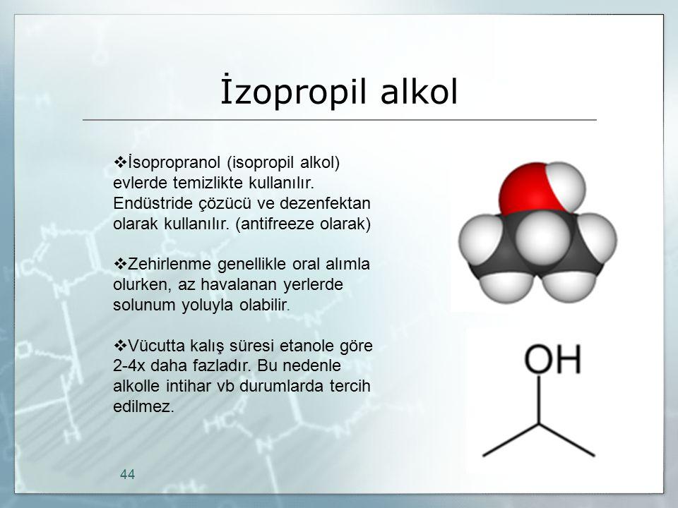 İzopropil alkol 44  İsopropranol (isopropil alkol) evlerde temizlikte kullanılır. Endüstride çözücü ve dezenfektan olarak kullanılır. (antifreeze ola