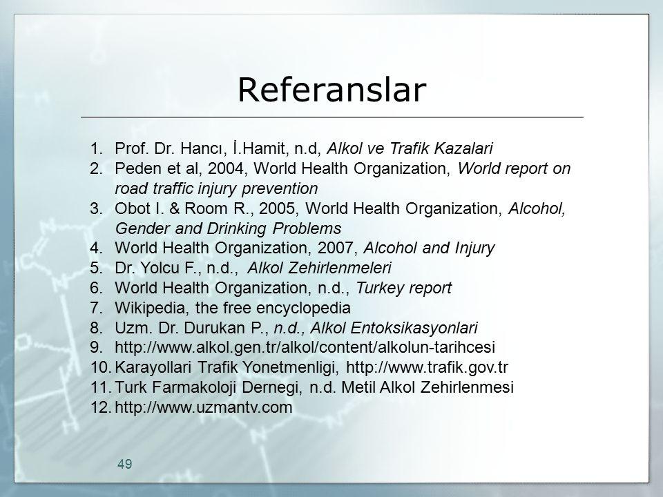 Referanslar 49 1.Prof. Dr. Hancı, İ.Hamit, n.d, Alkol ve Trafik Kazalari 2.Peden et al, 2004, World Health Organization, World report on road traffic