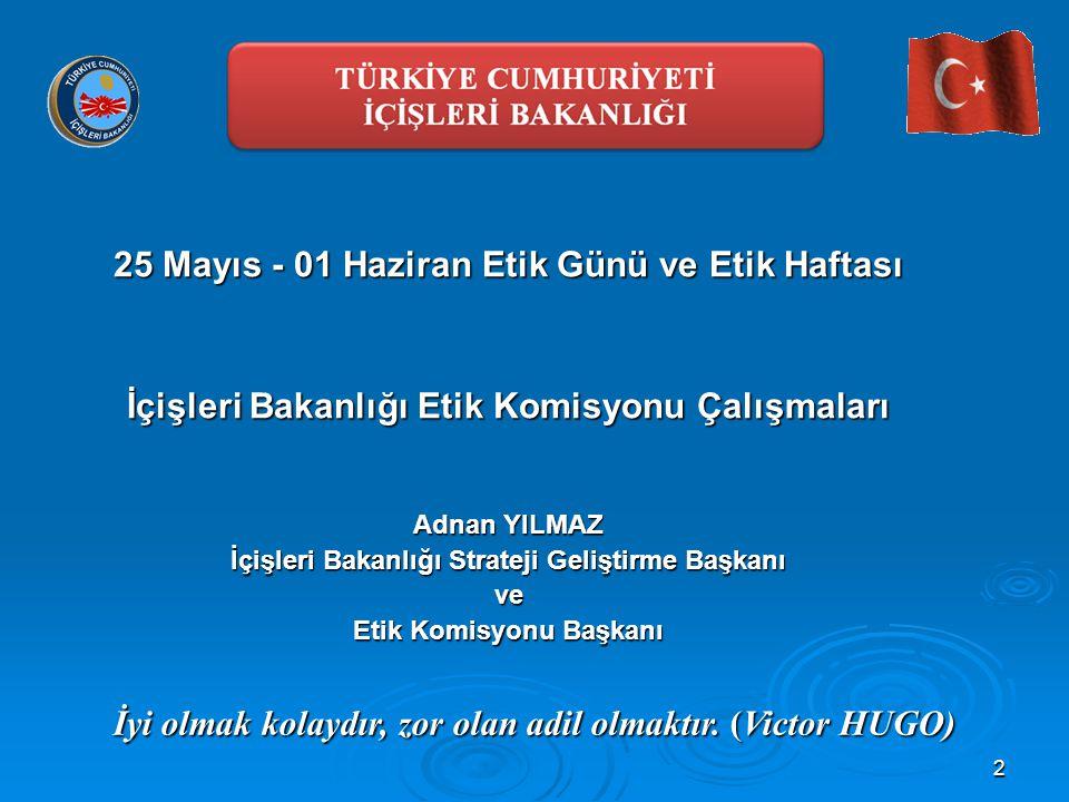 2 25 Mayıs - 01 Haziran Etik Günü ve Etik Haftası İçişleri Bakanlığı Etik Komisyonu Çalışmaları Adnan YILMAZ İçişleri Bakanlığı Strateji Geliştirme Ba