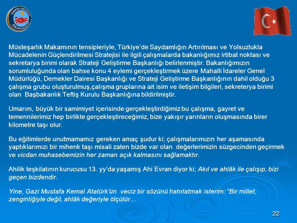 22 Müsteşarlık Makamının tensipleriyle, Türkiye'de Saydamlığın Artırılması ve Yolsuzlukla Mücadelenin Güçlendirilmesi Stratejisi ile ilgili çalışmalar