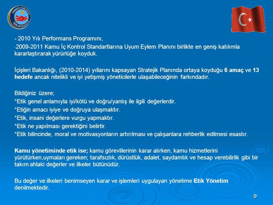 9 - 2010 Yılı Performans Programını, - - 2009-2011 Kamu İç Kontrol Standartlarına Uyum Eylem Planını birlikte en geniş katılımla kararlaştırarak yürürlüğe koyduk.