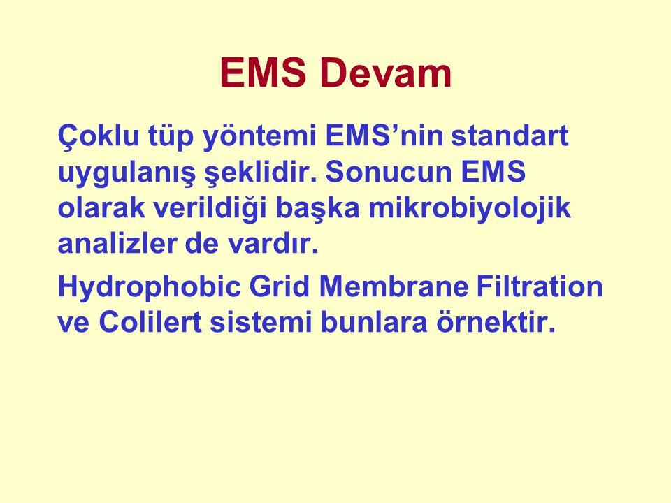 EMS Devam Çoklu tüp yöntemi EMS'nin standart uygulanış şeklidir. Sonucun EMS olarak verildiği başka mikrobiyolojik analizler de vardır. Hydrophobic Gr