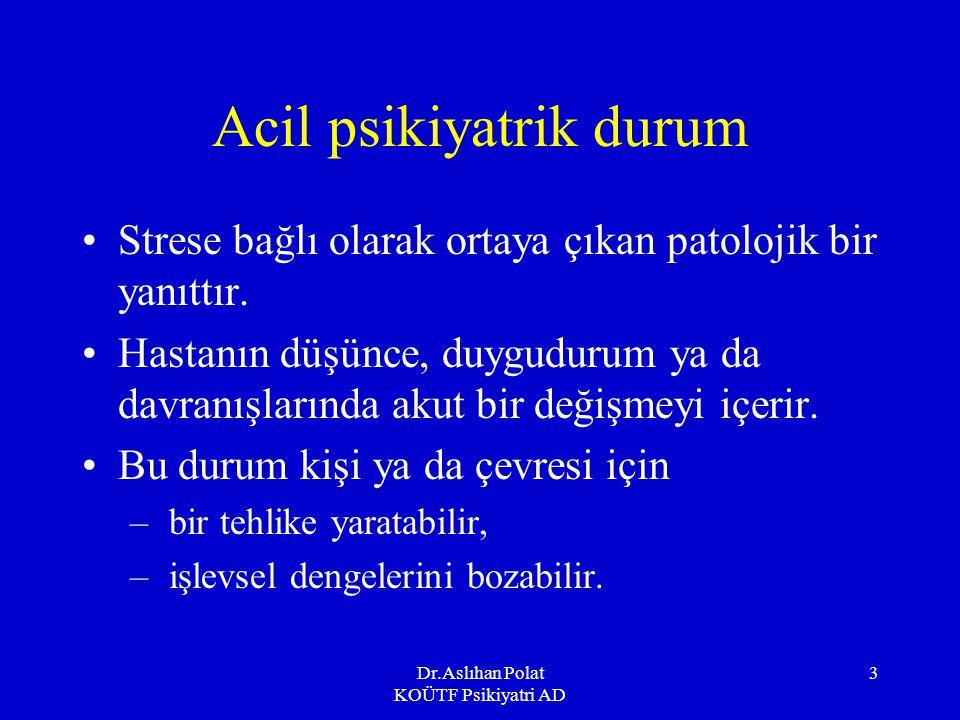 Dr.Aslıhan Polat KOÜTF Psikiyatri AD 3 Acil psikiyatrik durum Strese bağlı olarak ortaya çıkan patolojik bir yanıttır.