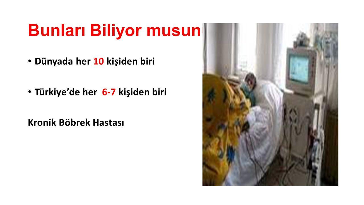 Bunları Biliyor musunuz? Dünyada her 10 kişiden biri Türkiye'de her 6-7 kişiden biri Kronik Böbrek Hastası