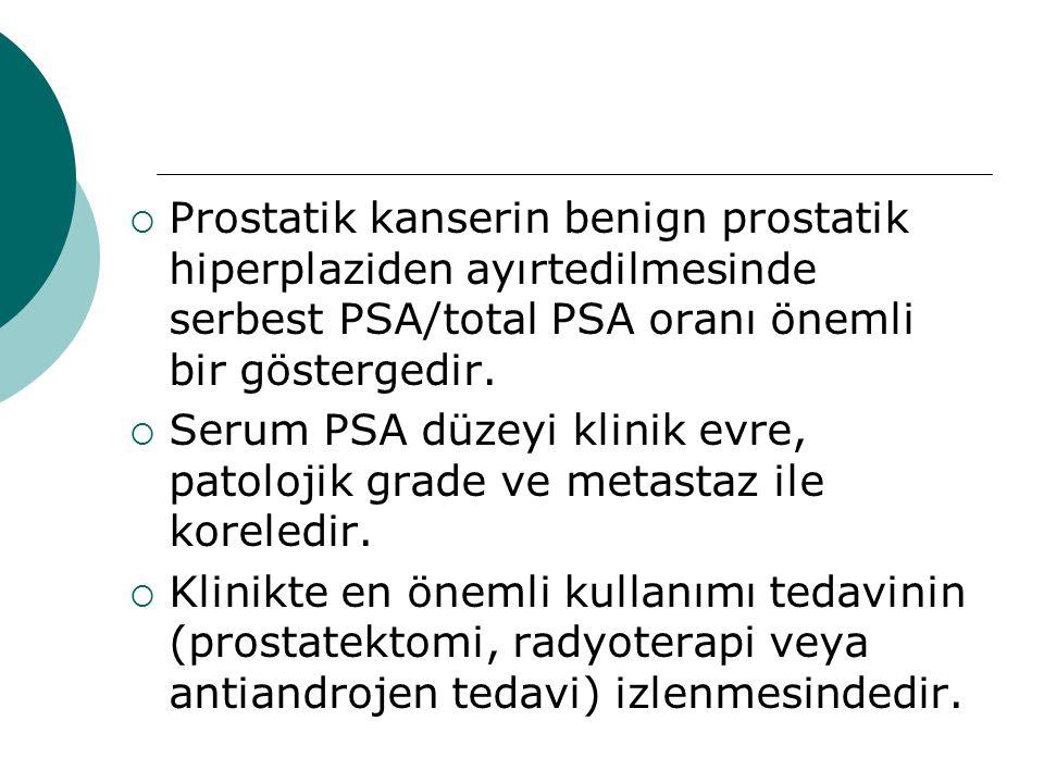  Prostatik kanserin benign prostatik hiperplaziden ayırtedilmesinde serbest PSA/total PSA oranı önemli bir göstergedir.