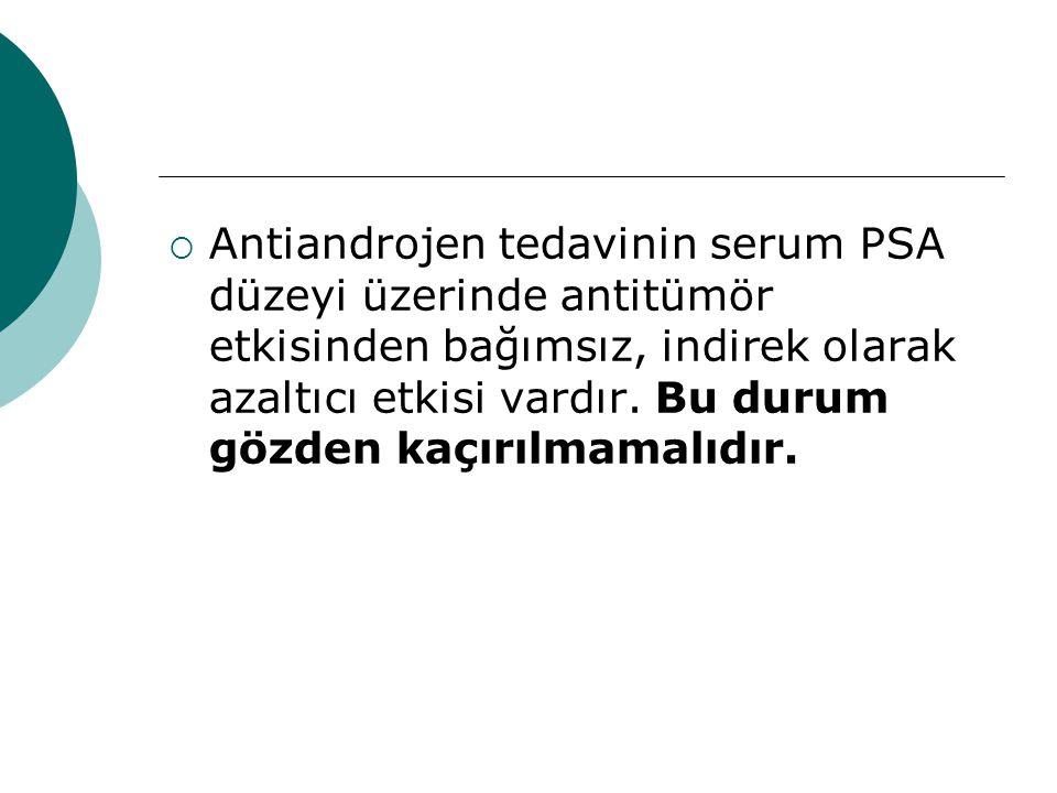  Antiandrojen tedavinin serum PSA düzeyi üzerinde antitümör etkisinden bağımsız, indirek olarak azaltıcı etkisi vardır.