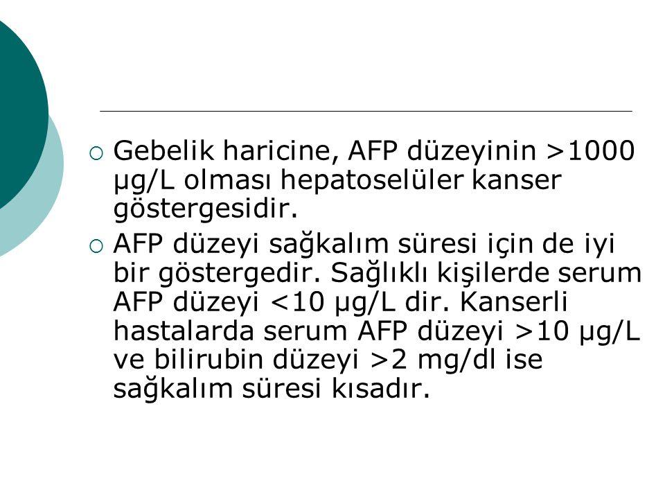  Gebelik haricine, AFP düzeyinin >1000 µg/L olması hepatoselüler kanser göstergesidir.