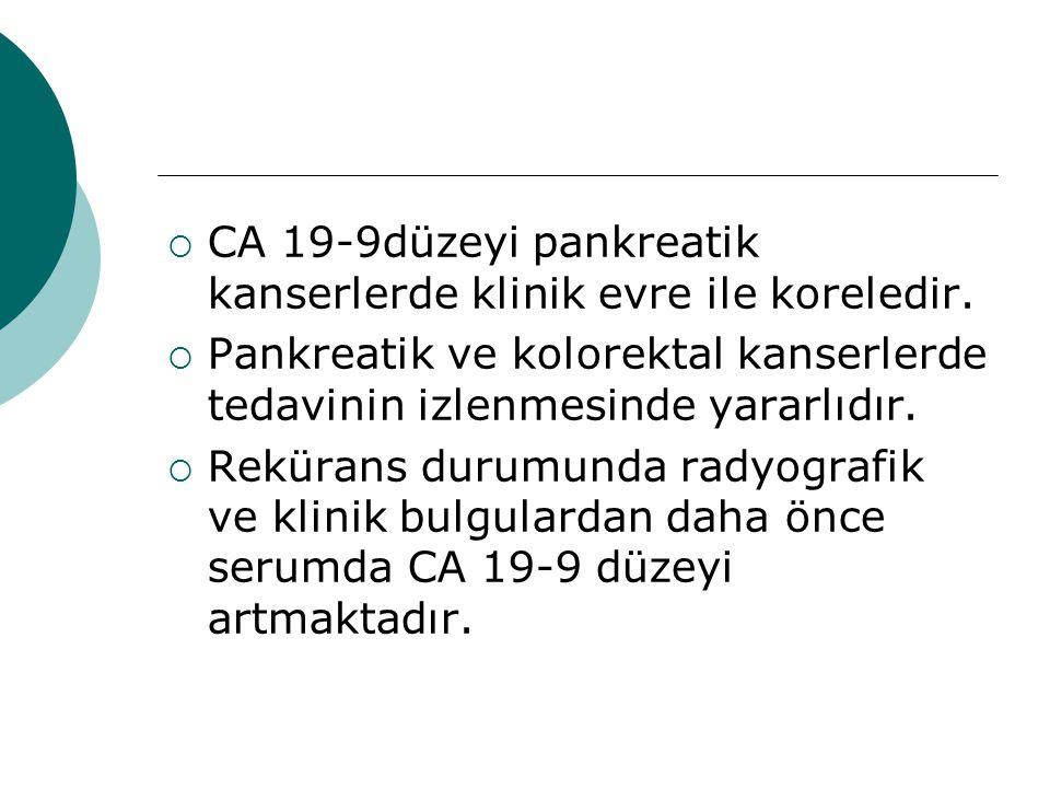  CA 19-9düzeyi pankreatik kanserlerde klinik evre ile koreledir.