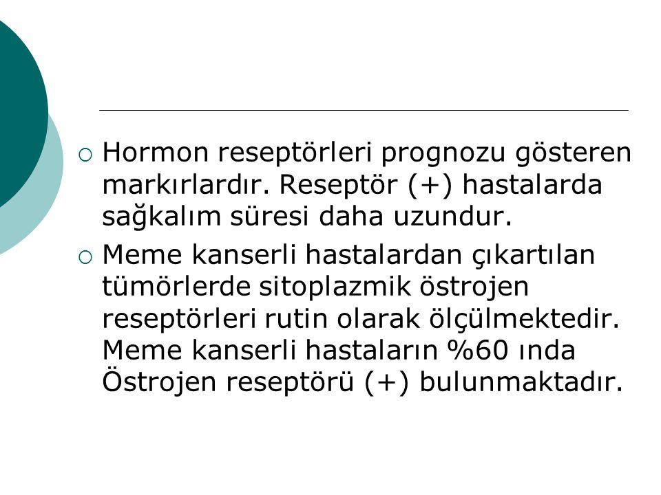  Hormon reseptörleri prognozu gösteren markırlardır.