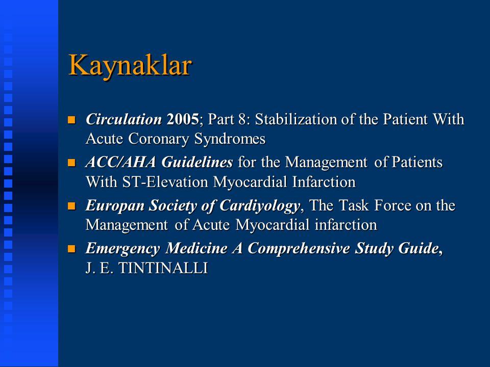 EKG  İlk EKG %50 tanı koydurucu  Tek EKG tanısal değeri düşük seri EKG duyarlılığı %95  Eski EKG'ye göre değişikliklerin değeri artar  AMİ %10 normal EKG V1-4 : Anteroseptal D1,AVL,V3-6 : Lateral D1,AVL,V1-6 : Yaygın Anterior D1,AVL : Yüksek Lateral D2,D3,AVF : İnferior V1-2 R>S : Posterior