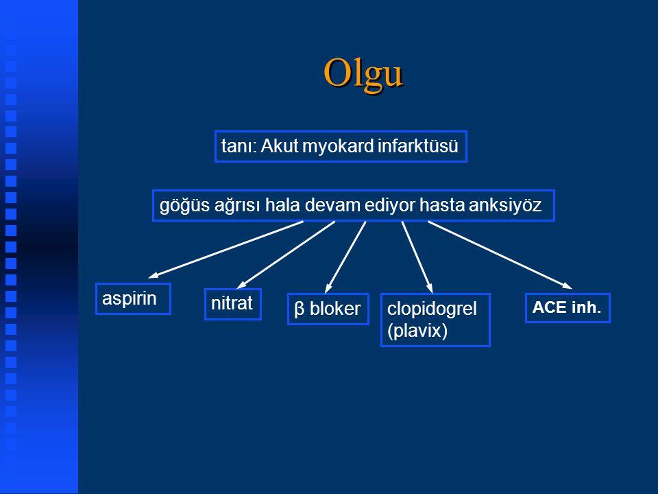 Olgu tanı: Akut myokard infarktüsü göğüs ağrısı hala devam ediyor hasta anksiyöz aspirin nitrat β blokerclopidogrel (plavix) ACE inh.