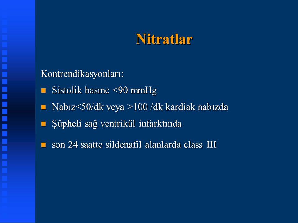 Nitratlar Kontrendikasyonları: n Sistolik basınc <90 mmHg n Nabız 100 /dk kardiak nabızda n Şüpheli sağ ventrikül infarktında n son 24 saatte sildenaf