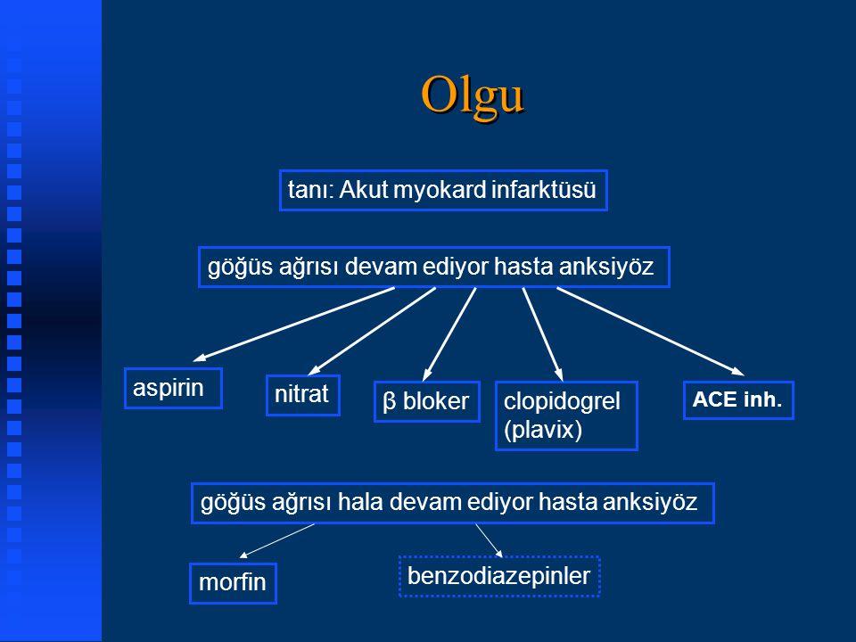 Olgu tanı: Akut myokard infarktüsü göğüs ağrısı devam ediyor hasta anksiyöz aspirin nitrat β blokerclopidogrel (plavix) ACE inh. göğüs ağrısı hala dev