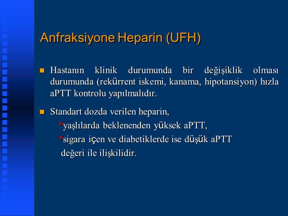Anfraksiyone Heparin (UFH) Hastanın klinik durumunda bir değişiklik olması durumunda (rek ü rrent iskemi, kanama, hipotansiyon) hızla aPTT kontrolu ya