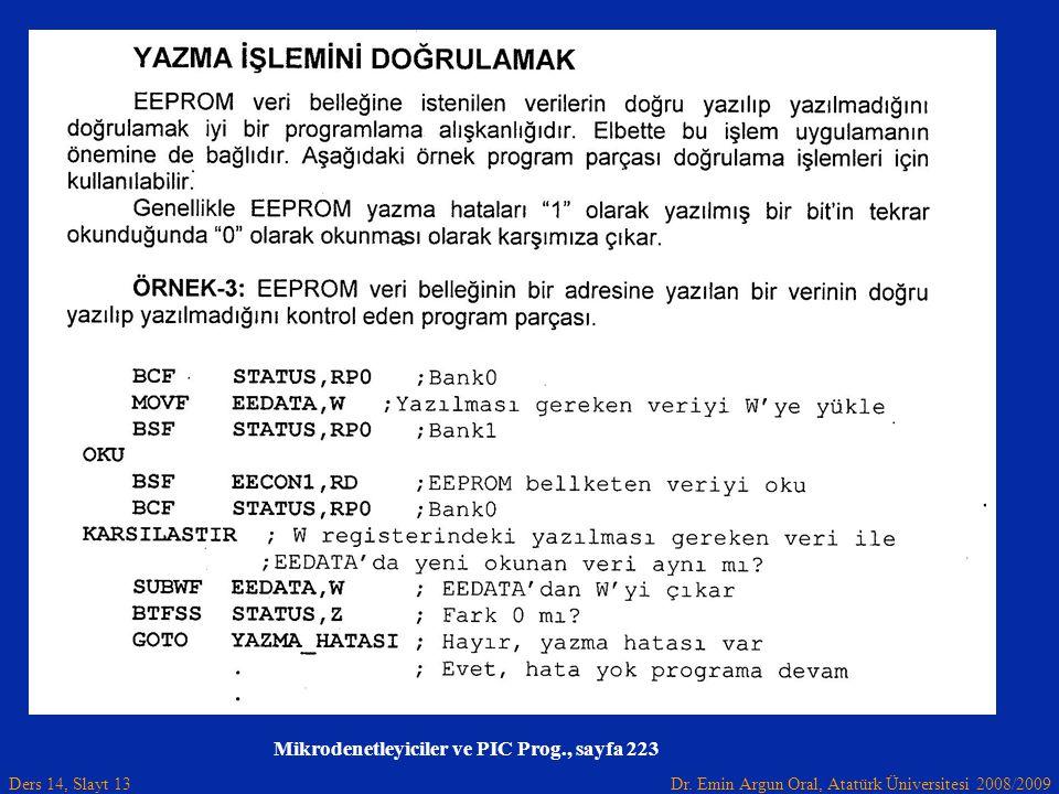 Dr. Emin Argun Oral, Atatürk Üniversitesi 2008/2009 Ders 14, Slayt 13 Mikrodenetleyiciler ve PIC Prog., sayfa 223