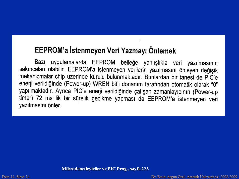 Dr. Emin Argun Oral, Atatürk Üniversitesi 2008/2009 Ders 14, Slayt 14 Mikrodenetleyiciler ve PIC Prog., sayfa 223
