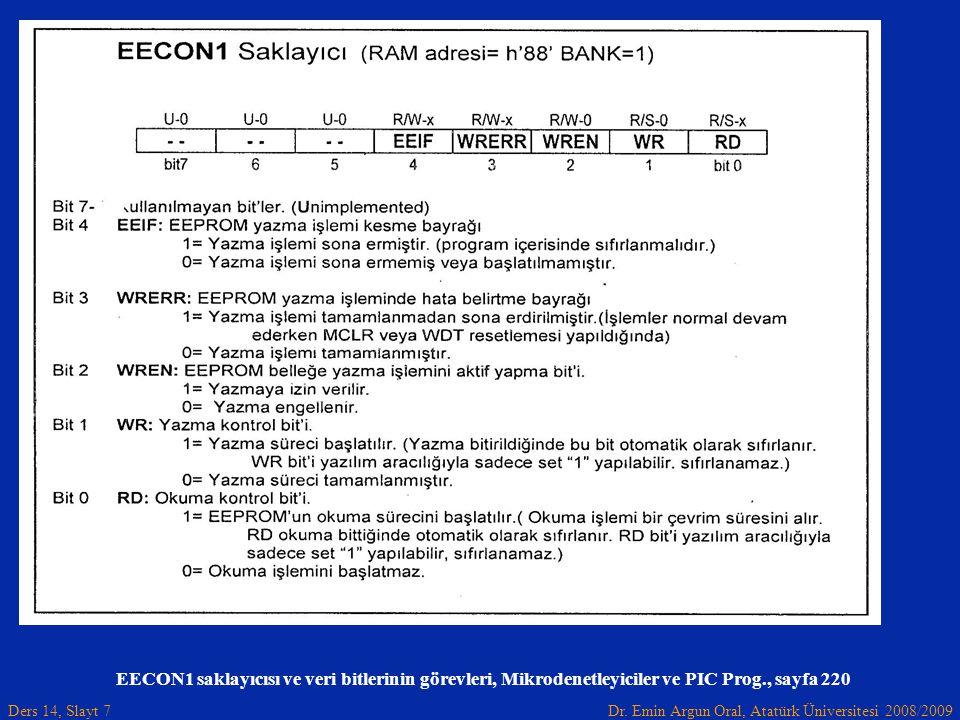 Dr. Emin Argun Oral, Atatürk Üniversitesi 2008/2009 Ders 14, Slayt 7 EECON1 saklayıcısı ve veri bitlerinin görevleri, Mikrodenetleyiciler ve PIC Prog.